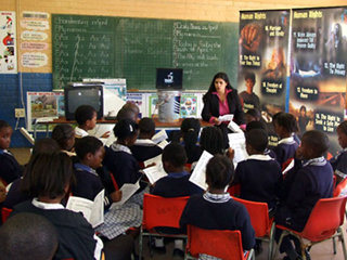 South African students study Youth for Human Rights materials in class