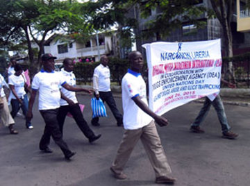 Narconon Liberia marching on UN Day