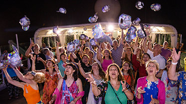 Scientologists from around the world reunited in June to commemorate the anniversary of the Motor Vessel Freewinds' maiden voyage. Pictured above is the send-off celebration.