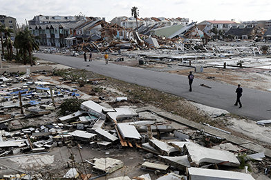 Mexico Beach and Panama City were the areas worst affected by the hurricane, with houses completely flattened beyond repair.