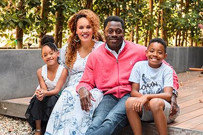 Nick Ferguson con la famiglia