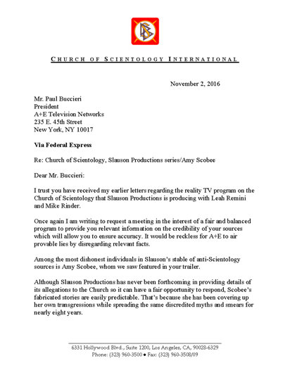 Letter from CSI to A+E Networks re Amy Scobee