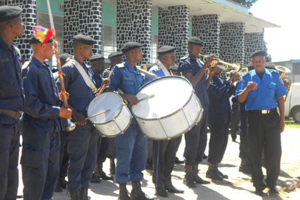 The police department marching band honored the arriving Volunteer Ministers with a musical salute.