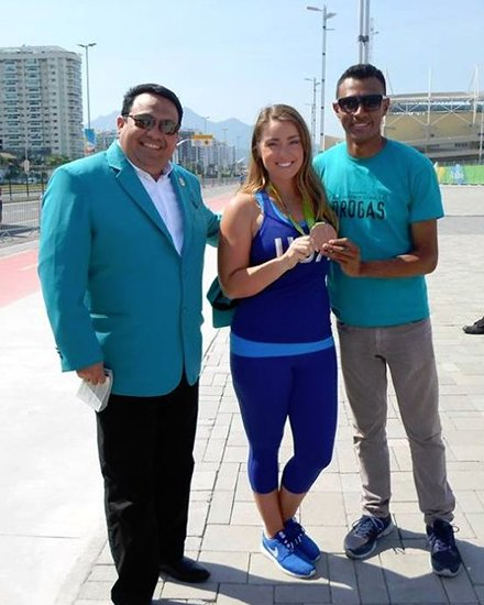 One of the volunteers from the Foundation for a Drug-Free Venezuela, helping Rio youngsters
