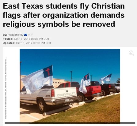 Photo of news article showing vehicles proudly donning Christian flags