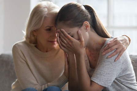 Mother with a addicted daughter are crying