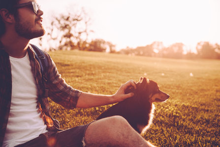 HAppy man with a dog