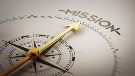 Compass pointing towards mission