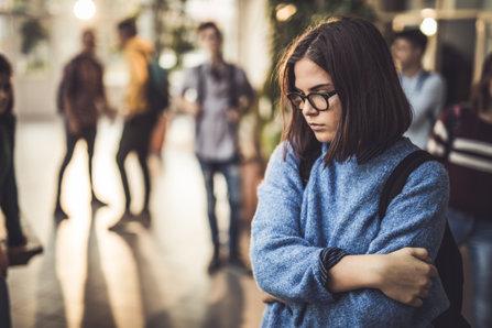 Sad girl at school