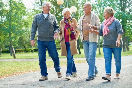 Old people are talking and walking. Sober Silent Generation.
