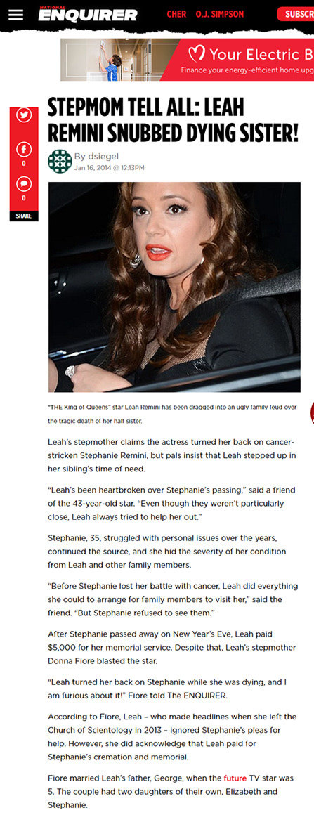 National Enquirer on Leah Remini