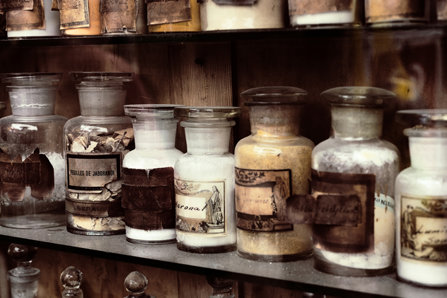 Antique medicine bottles.