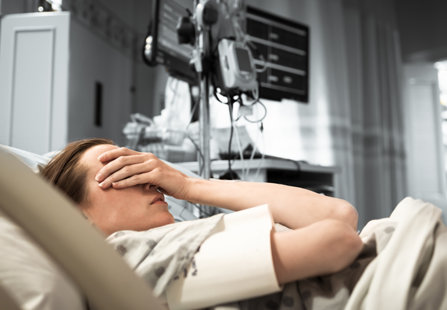 Woman in a hospital