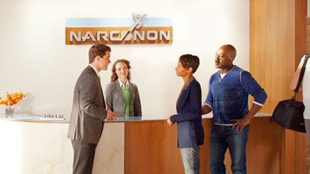 Narconon reception, parents talking with a Narconon staff