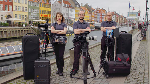 Aufnahmeteam von Scientology Media Productions in Europa
