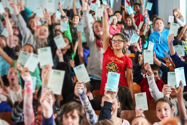 Students pledge a drug-free life in a Staten Island elementary school