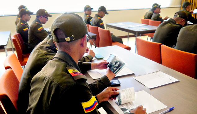 The Bogota Touristic Police Unit met at the city's new Scientology Ideal Church to get instruction on the religion's Truth About Drugs campaign.