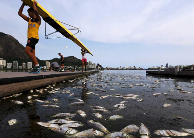 Brazil's Guanabara Bay, into which hundreds of tons of untreated sewage flow annually