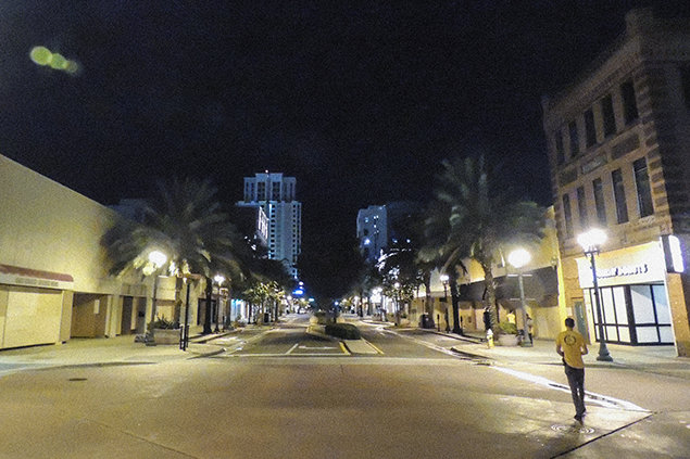 Clearwater. Downtown secured by Volunteer Ministers for hurricane Irma