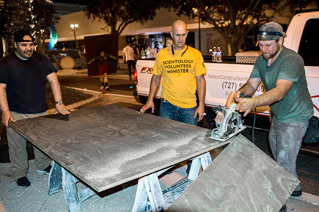Clearwater. Scientology Volunteer Ministers protecting downtown