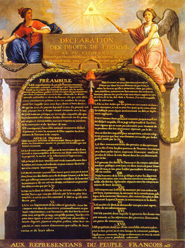 "Following the French Revolution in 1789, the Declaration of the Rights of Man and of the Citizen granted specific freedoms from oppression, as an ""expression of the general will."""