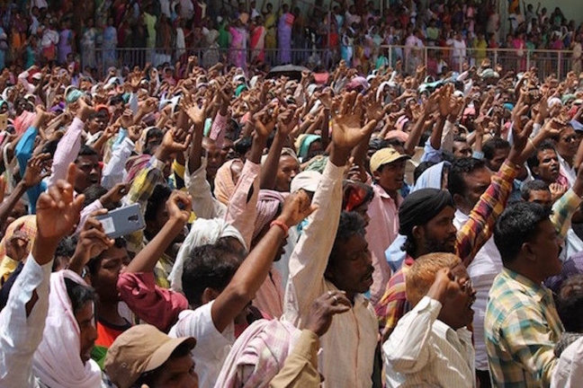 Protest of members of indigenous religions in the town of Gumla, India.