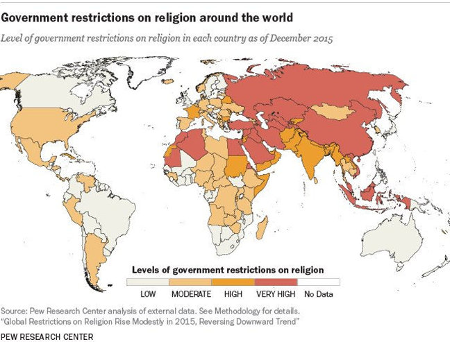 Pew Research Center map of global restriction of religion