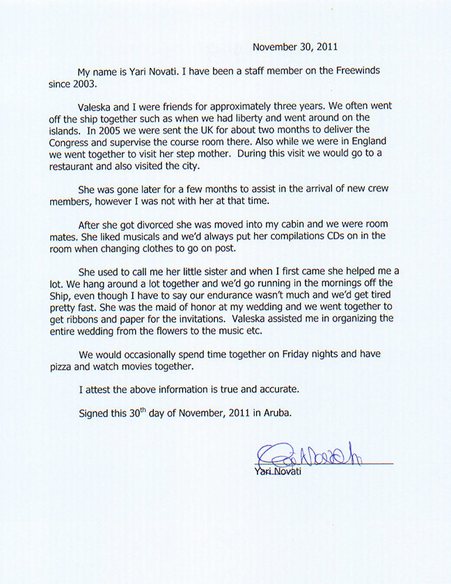 Declaration of Yari Novati about Valeska Paris