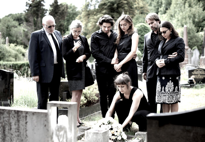 Family at the grave.