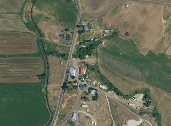 An Apple Maps satellite view of Ola, Idaho, where Michael and his wife traveled to watch the eclipse.