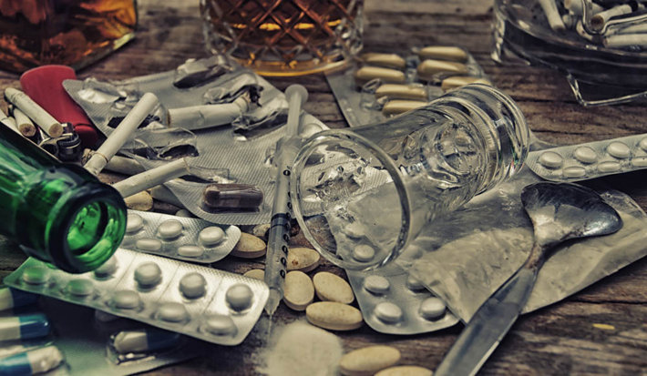various drugs and alcohol