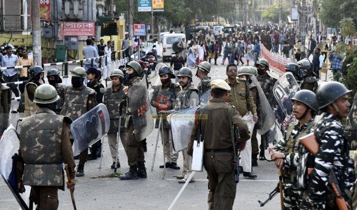 Violent protest in Assam, India, new immigration bill (G-plus news twitter)