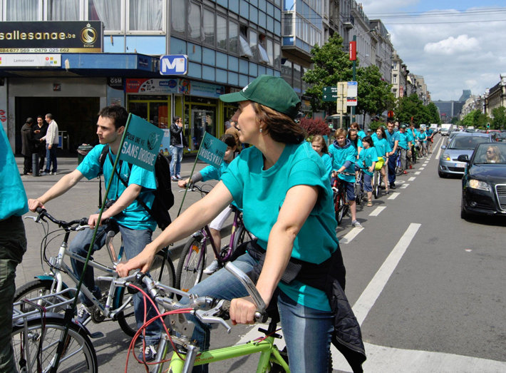 Belgian Scientologists stage drug prevention and awareness activities such as this bike ride through the heart of Brussels.