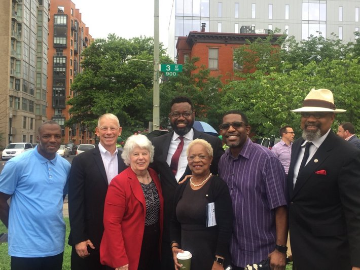 Rev. Sue Taylor (third from left) representing the Church of Scientology was among the D.C. religious leaders celebrating the groundbreaking of this important partnership to provide affordable housing in D.C.
