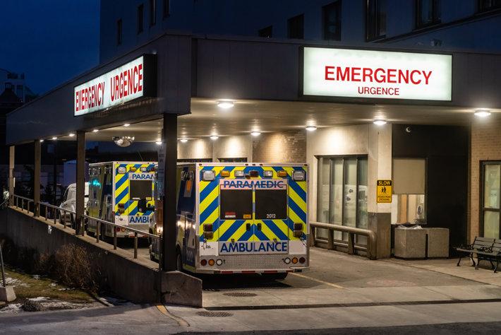Ambulance outside the emergency in a hospital