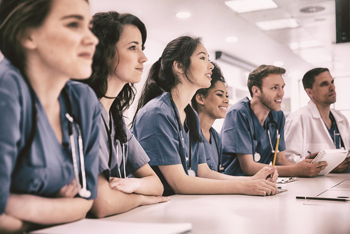 Medical students listening lecture