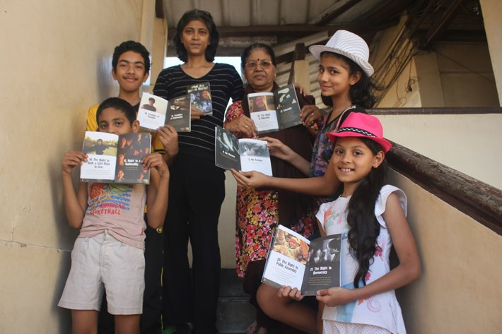 Theresa Michael, teacher at Mumbai's GloWorld Finishing School educates her classes with Youth for Human Rights curriculum