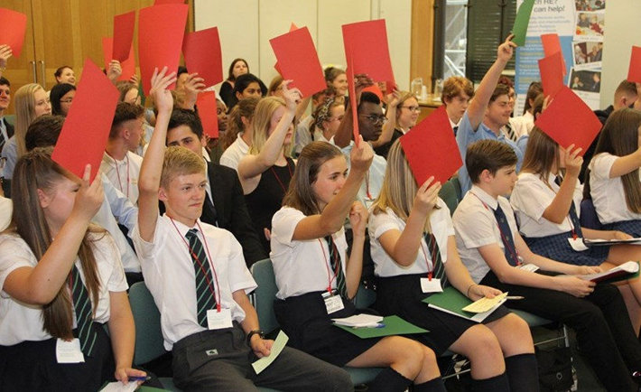 Students vote against dropping Religious Education as a subject in English schools at debates held at the Palace of Westminster (Photograph by Ella Perkins).