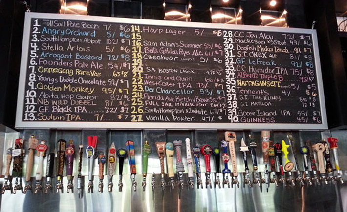 menu listing large number of craft beers