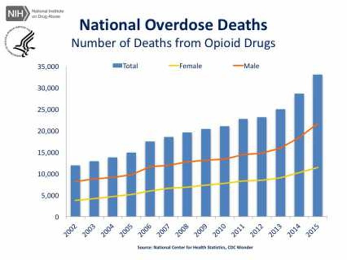 Chart shows overdose deaths from prescription opioids.