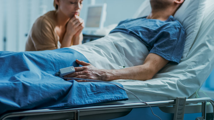 A wife with an overdoses husband in a hospital