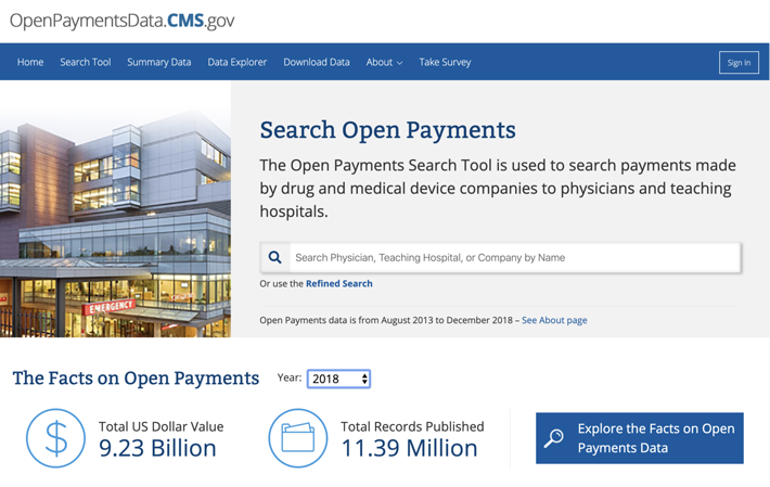 Open payments search tool
