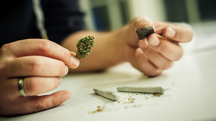 person using hashish