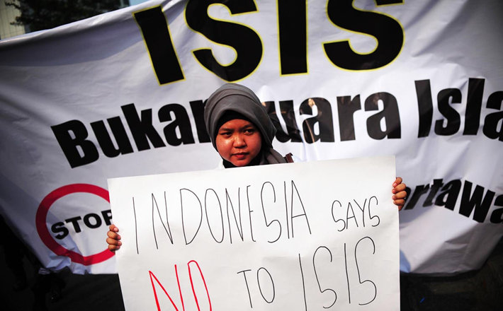Woman protests ISIS in Indonesia