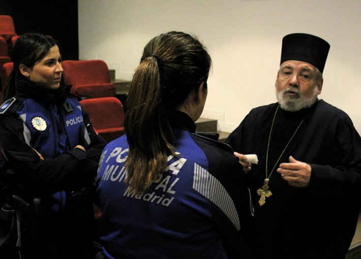 Orthodox priest and police