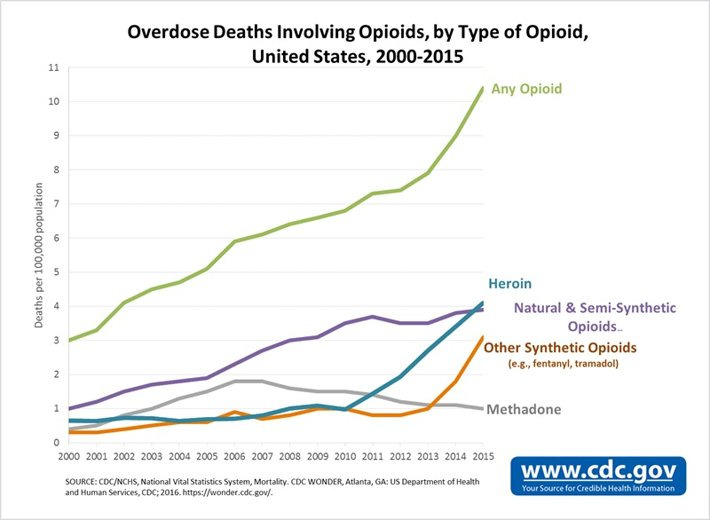 Overdose deaths by type of drug.