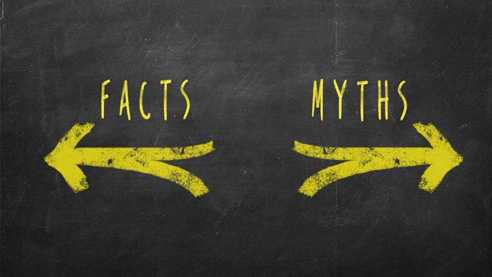 Split arrows. Facts on the left, myths on the right.
