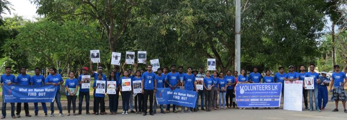 Team 29 Responsibility and Youth for Human Rights at the start of their Human Rights Walk in Colombo, Sri Lanka