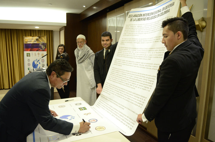 at the Church of Scientology Bogota, religious leaders signed the Interconfessional Declaration of Religious Freedom in Colomibia