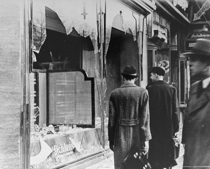 A shop destroyed during Kristalnacht